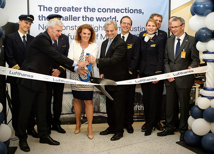 Lufthansa Austin to Frankfurt ribbon-cutting