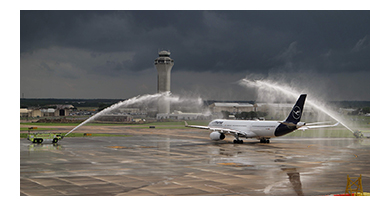 Water cannon salute to Lufthansa AUS to FRA flight
