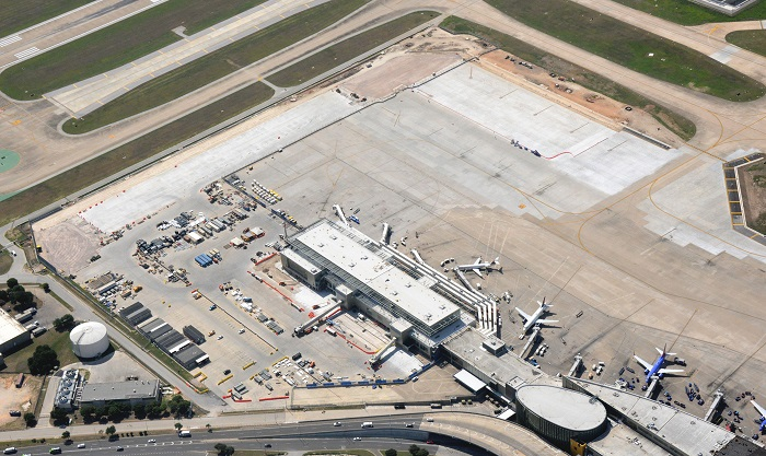 An aerial view of the Austin Airport apron expansion.