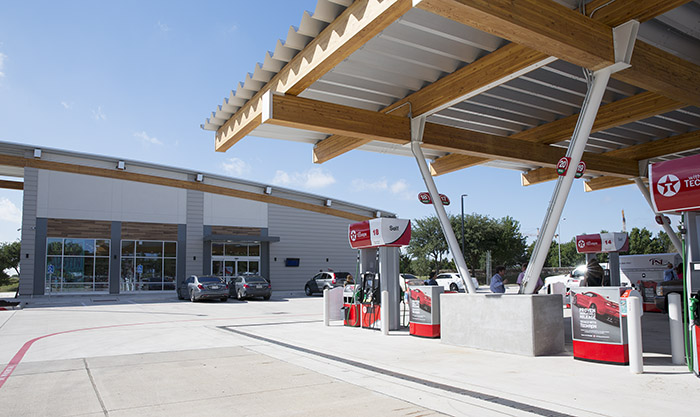 Newly renovated cell phone lot includes a fueling station, convenience store and food.