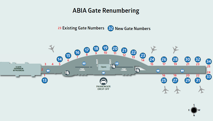 Map of Phase III gate renumbering