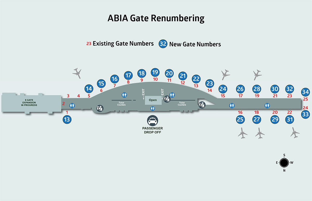 Austin Airport Terminal Map Changing our Numbers; Gate 25 now Gate 34, More Renumbering to