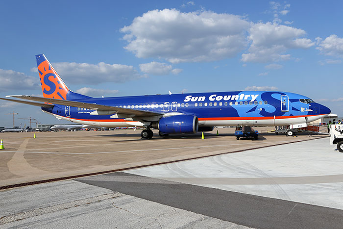 Sun Country plane arrives at Austin airport