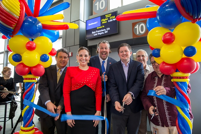 Airport officials cut the ribbon at Southwest launch event.