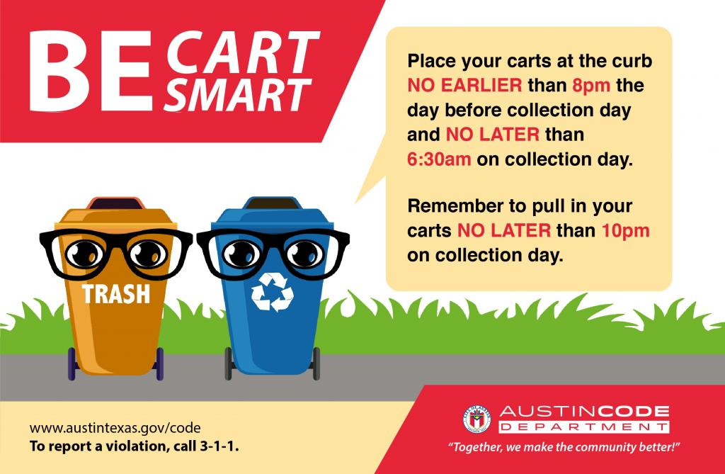 "Graphic of a cartoon garbage and recycling cart in a yard wearing glasses below the header banner saying ""be cart smart"""