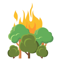 wildfire graphic of trees on fire