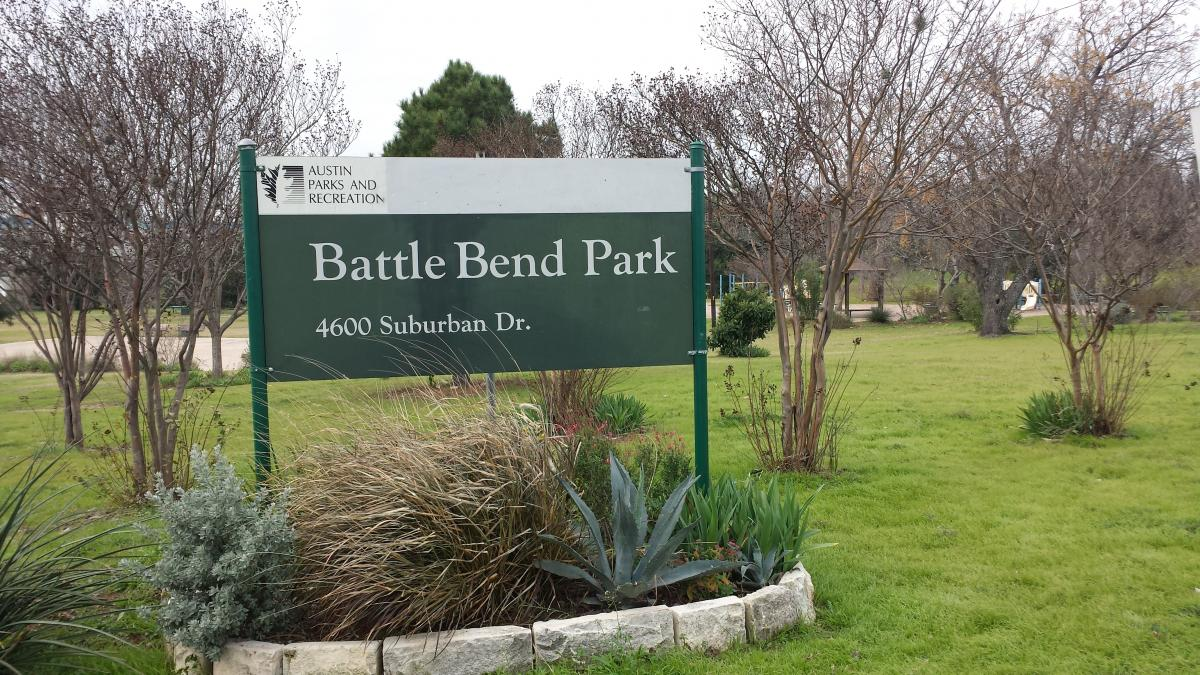Photo of sign at Battle Bend Park