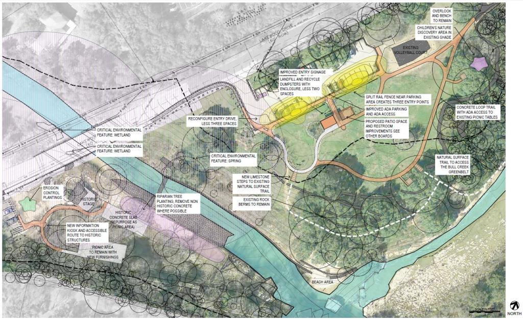 Image of the plan for Bull Creek District Park: Identifying improvements throughout the park