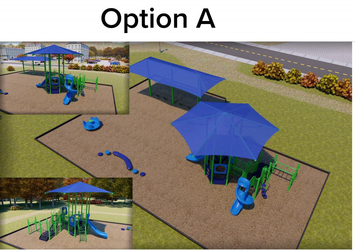 Option A: Covered playgrounds for 2-5 and 5-12. Small amenities will be under shade of tree.