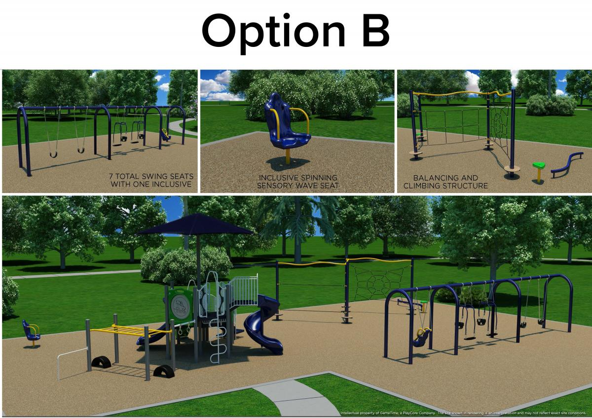 Option B: Playscape for ages 5-12, swings, including cooperative swing will be under tree shade. Spinning chair is for cooperative play.