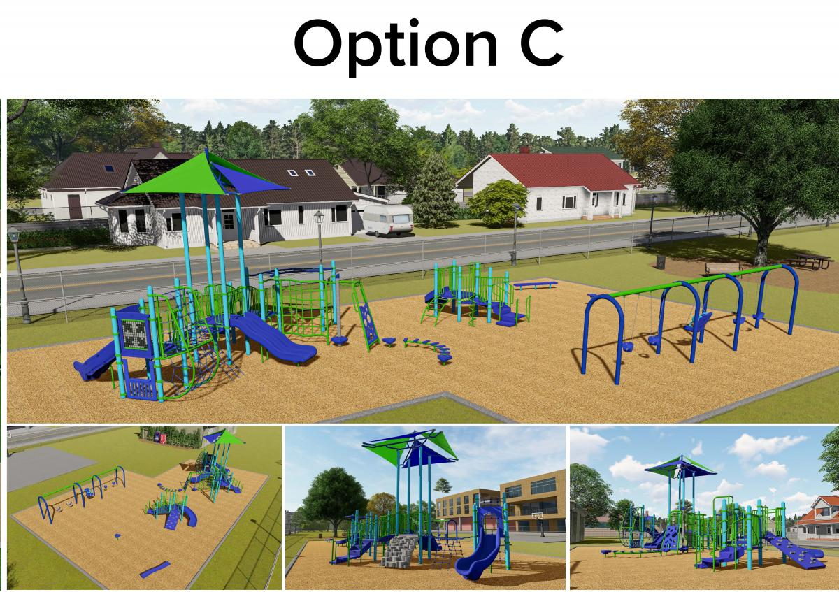 Option C: Playground for ages 5-12 with shade structure; playscape for ages 2-5 will be under shade tree