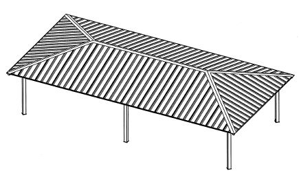 Drawing of the new pavilion showing roof and six support columns.