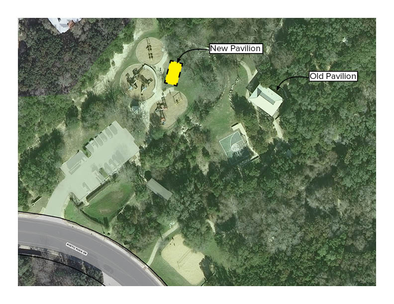 Aerial image of park showing new pavilion location closer to the playground area.