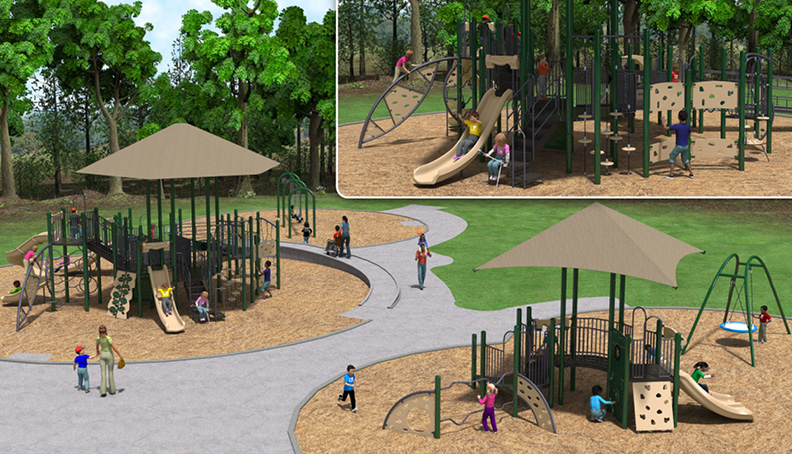 New Tanglewood playgrounds. Small corner shows playground for 5-12 year olds with slides and climbing structure. Large image shows small playground for 2-5 year olds next to larger playground for 5-12 year olds.