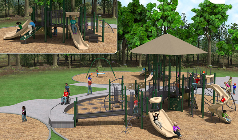 New Tanglewood playgrounds. Small corner shows playground for 2-5 year olds with slides and climbing structures. Large ismmage shows playground for 5-12 year olds with slides, accessible ramp and sidewalk.