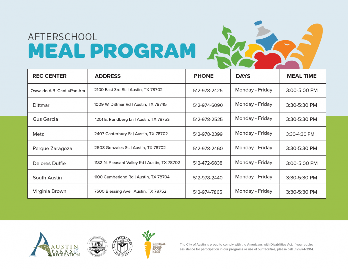 programs afterschool program registration meal youth recreation parks austintexas gov centers required