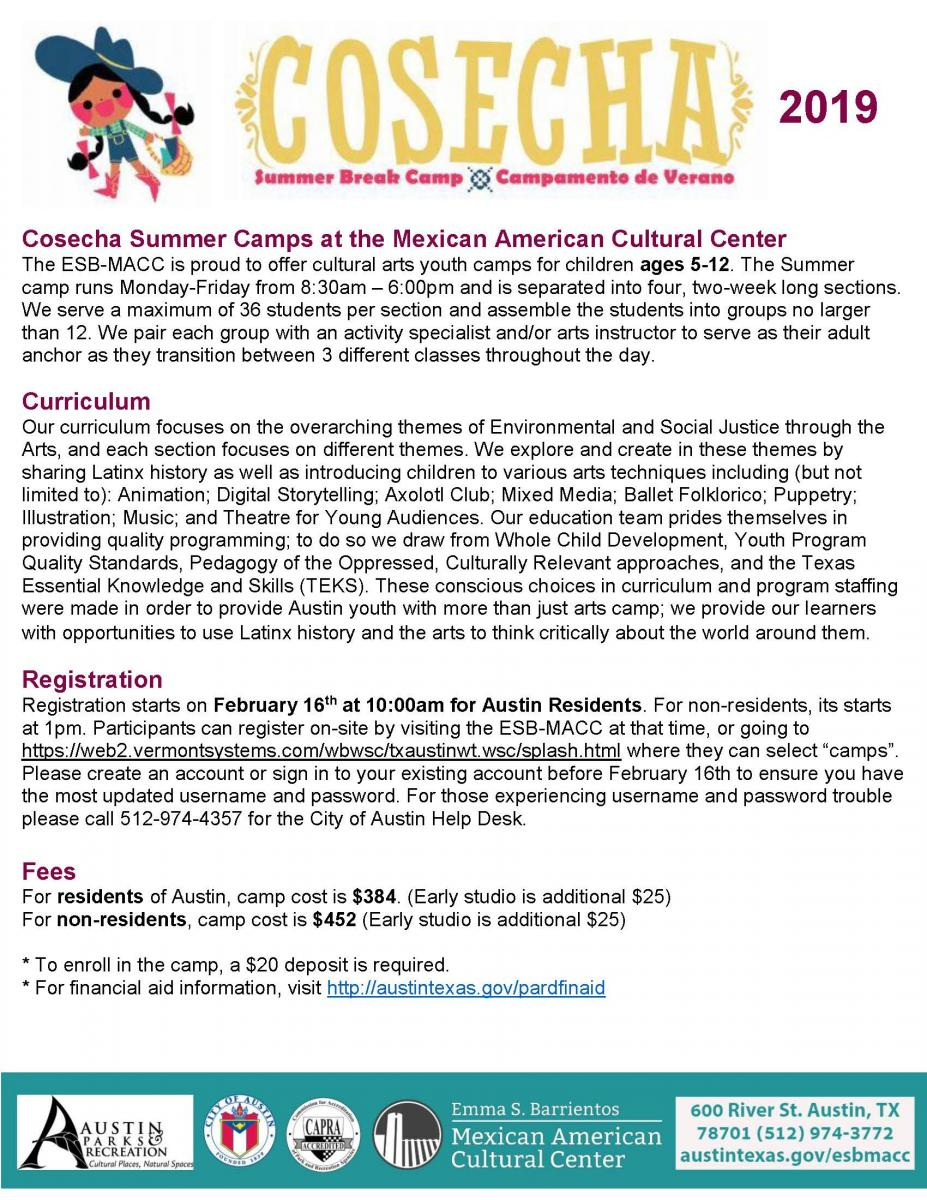 Emma S. Barrientos Mexican American Cultural Center Summer Camp flyer