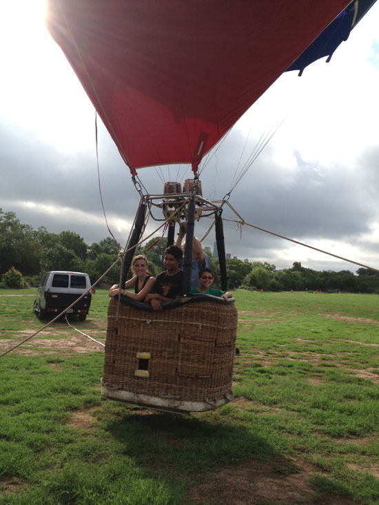 campers enjoy hot air balloon