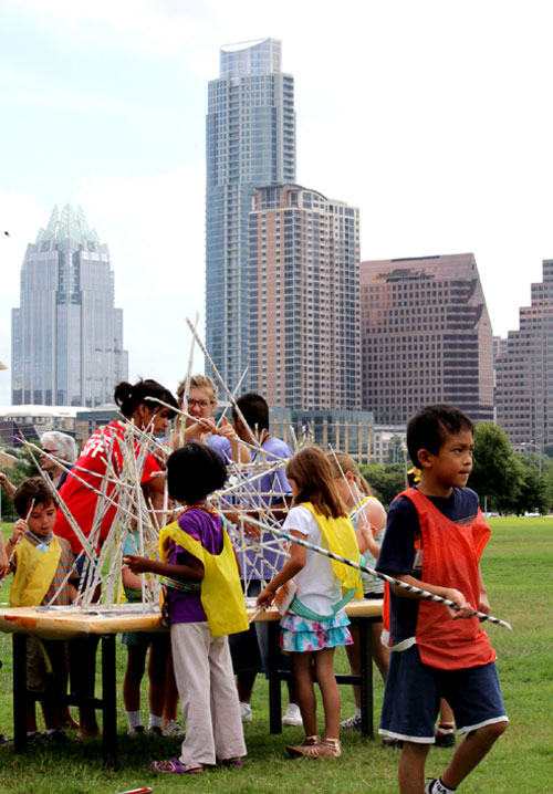 DAC summer campers creating art in the park