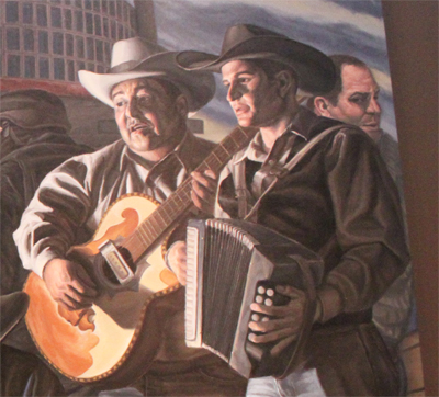 "Close up of one of Rigoberto's works showing Mexican musicians singing a ""narco corrido""."