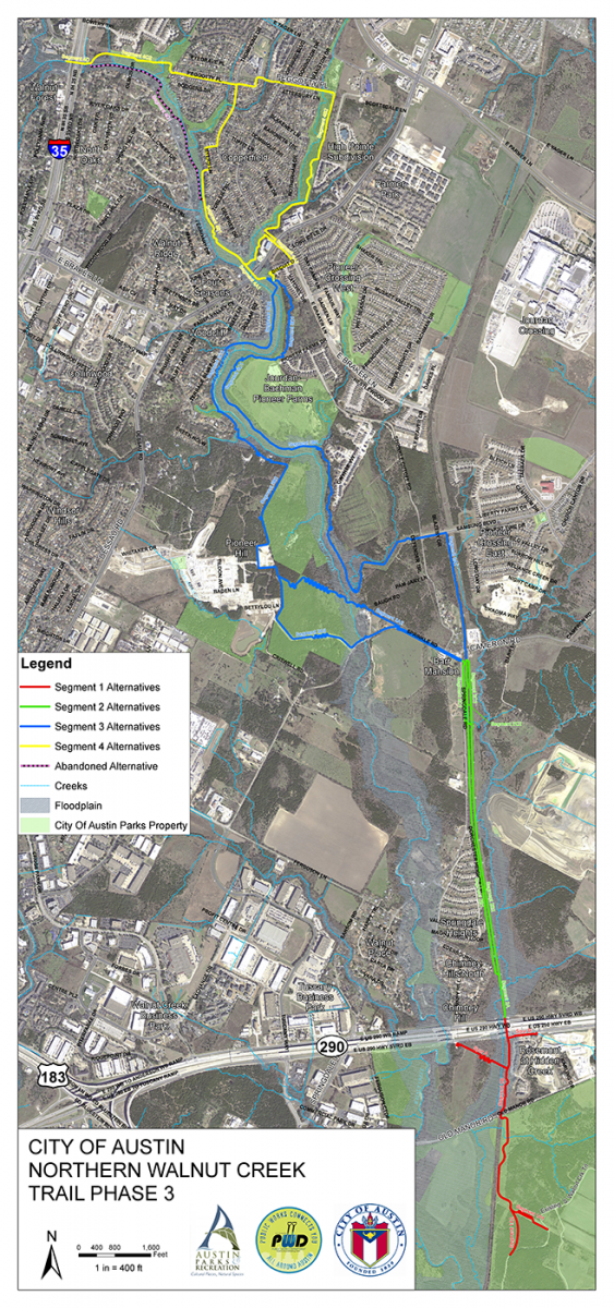 image of overall northern walnut creek trail phase 3 map