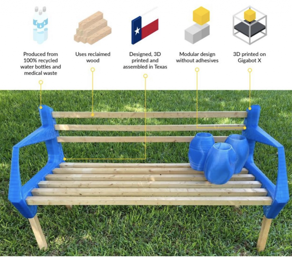 Bench made out of recycled water bottles, reclaimed wood and a 3D printer