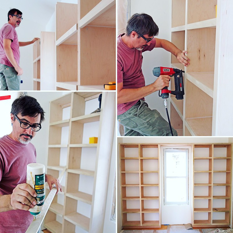 Collage of building built-in shelves.