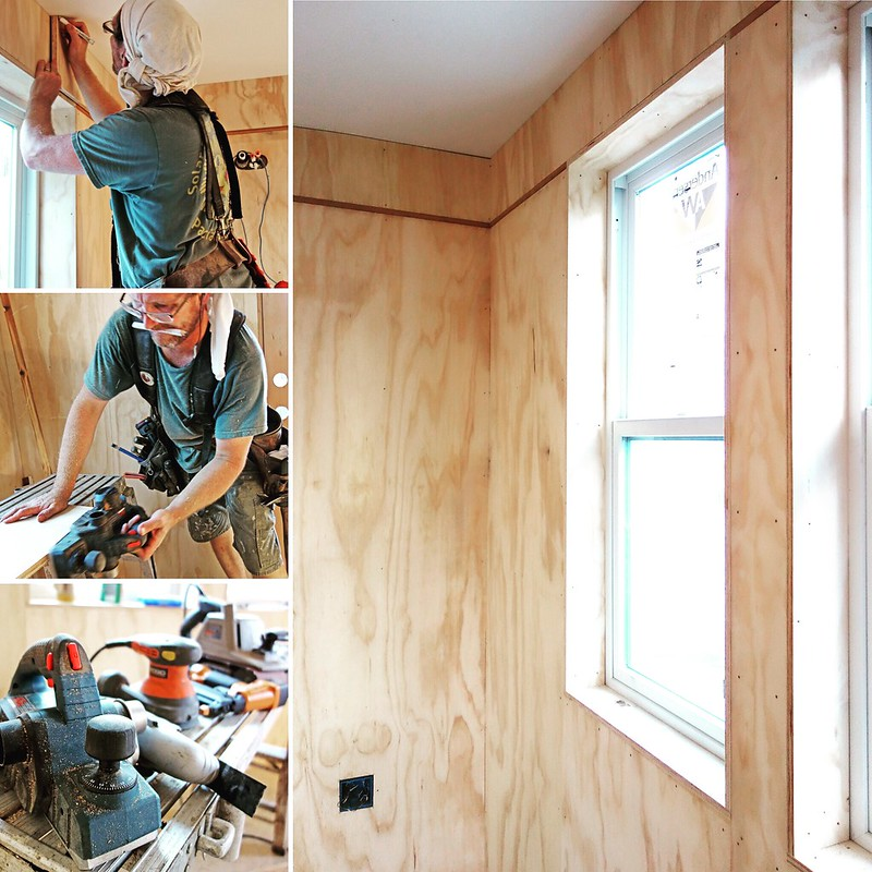Collage of David working on constructing the house.