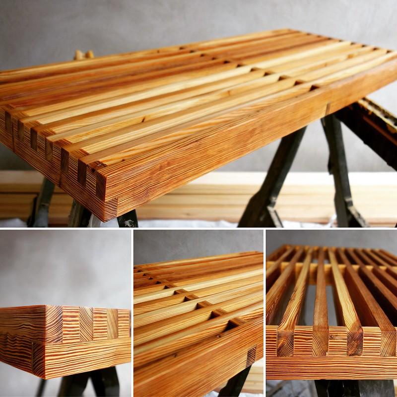 Wood slat table.