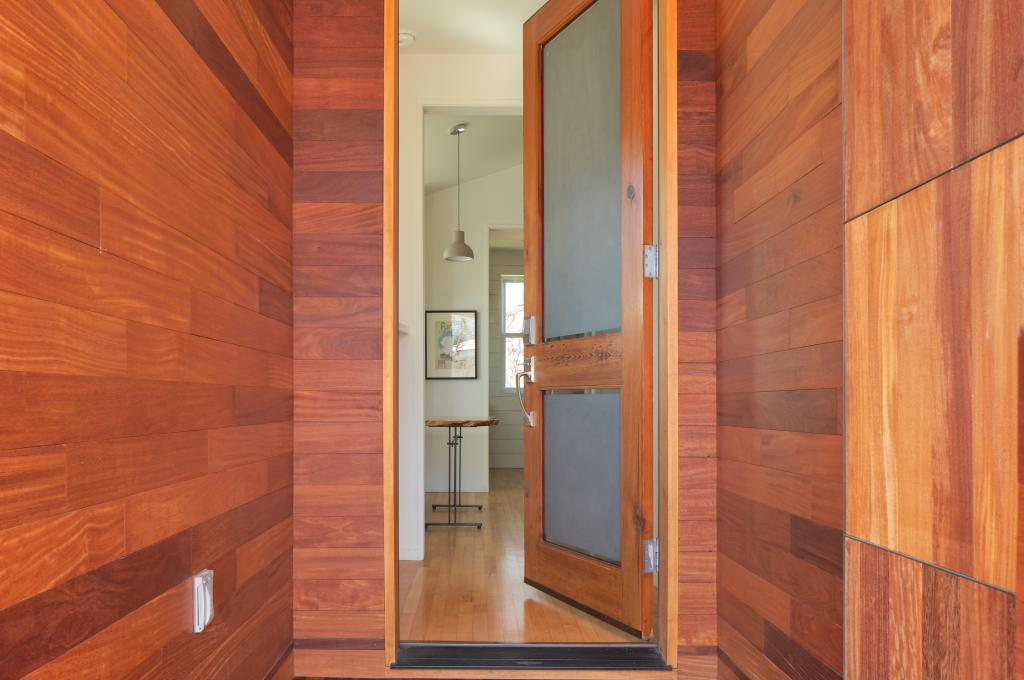 Home entry with warm wood