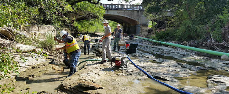 Crews lower water levels in Shoal Creek before starting a construction project.