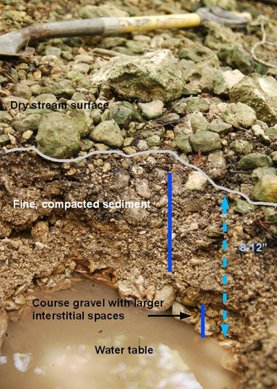 This is a picture of the cross-section of a stream bed when there is no surface flow and the water table has retreated to a sub-surface level.