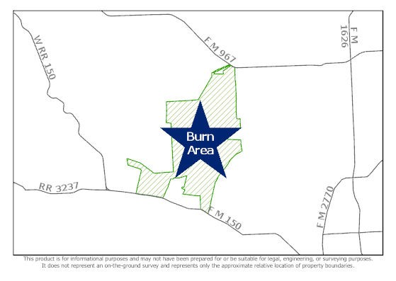 Map of upcoming prescribed burn in areas of Hays County