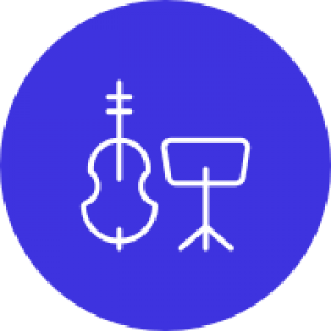 contrabass and sheet music stand icon