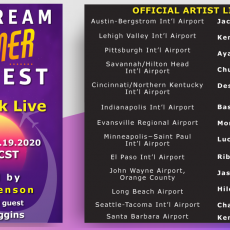 "Graphic depicts the JetStream Summer Fest poster to the left and a full line up of the artists performing to the right. The poster is colorful with pinks, purples and oranges and says ""JetStream SUMMER Fest. Facebook Live. 8.19.2020 Hosted by Jackie Venson with special guest Kenny Loggins"""