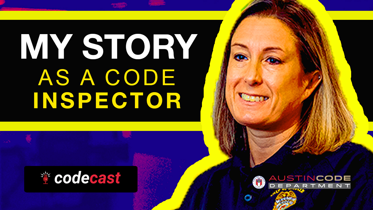 My Story as a Code Inspector title next to a smiling photo of Inspector Lauren Taggart with short blong hair and a navy blue code uniform